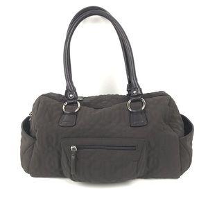 Donald J Pliner brown Quilted embroidered handbag